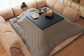 Woman sleeping underKotatsu Japanese Heated Table