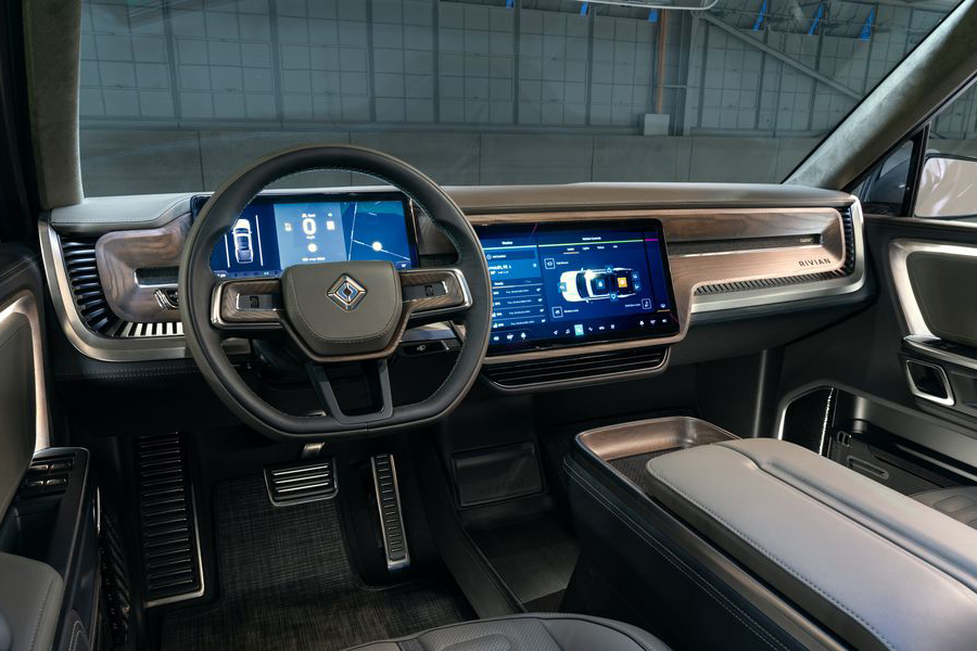 Rivian SUV steering wheel and dashboard