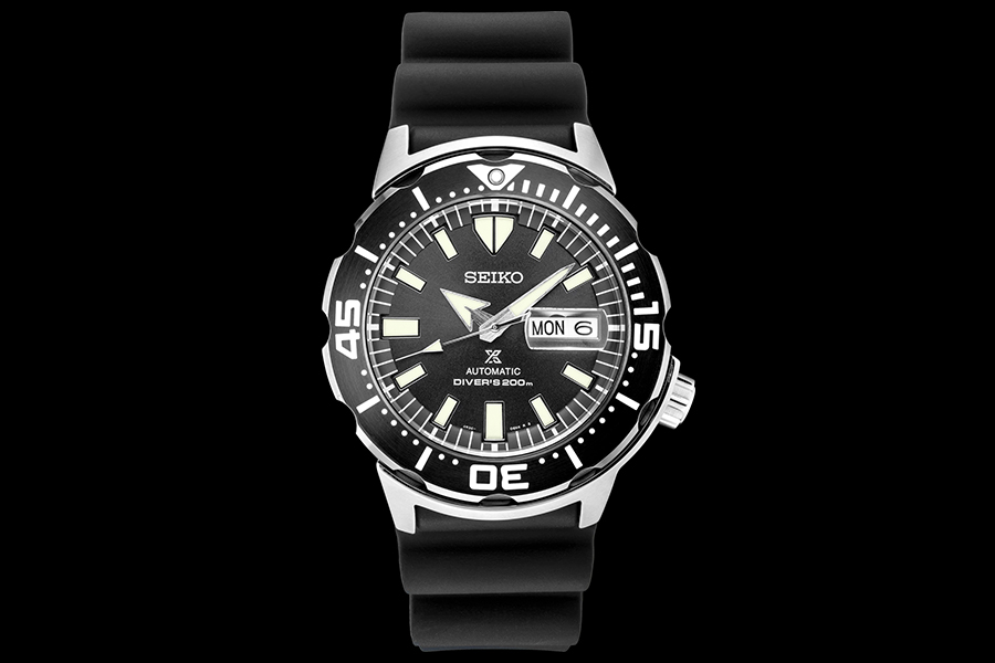 black seiko monster dive watch