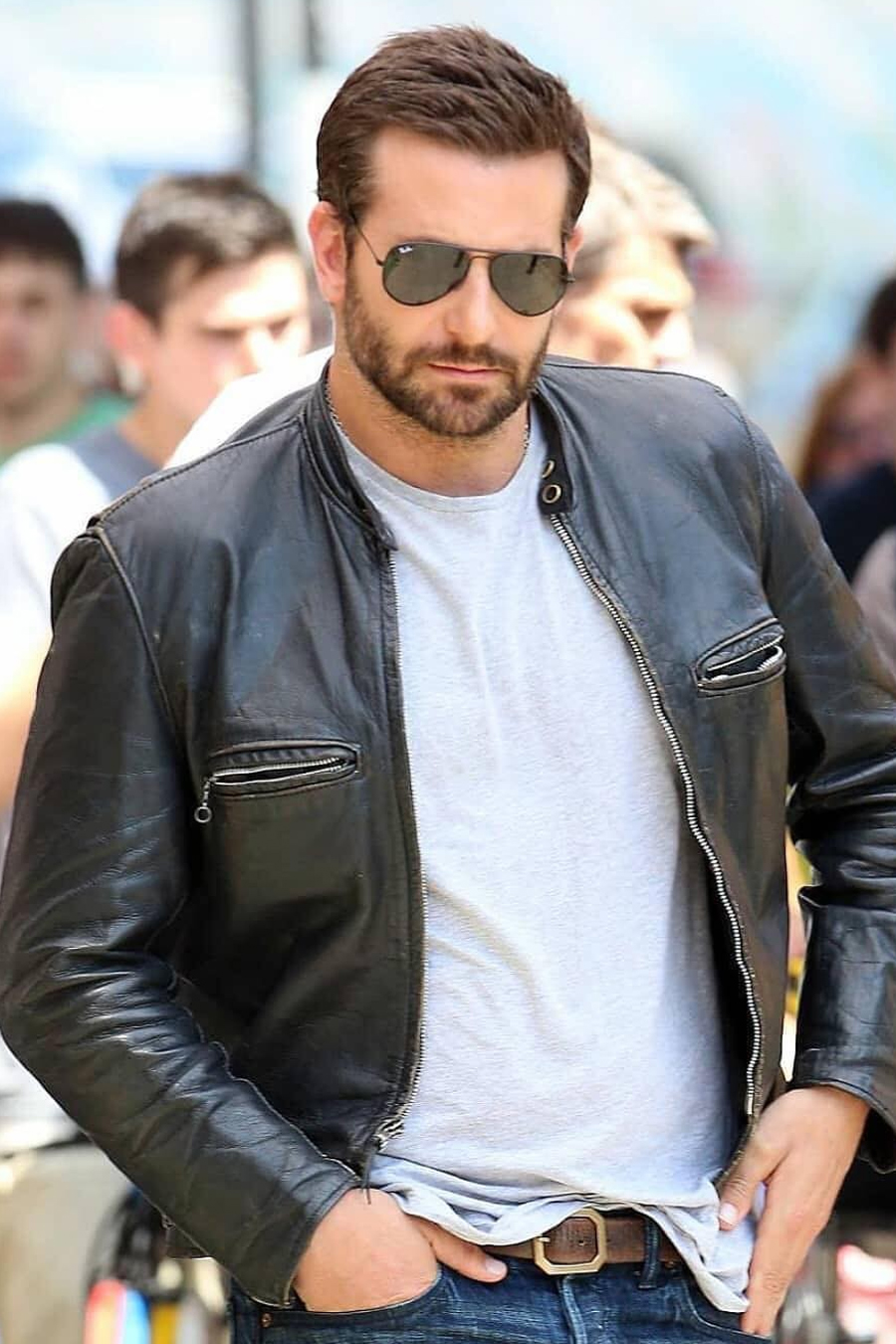 Bradley Cooper in Leather Jacket
