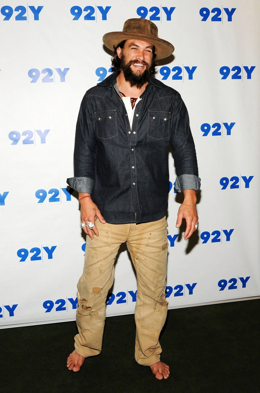 Jason Mamoa without shoes