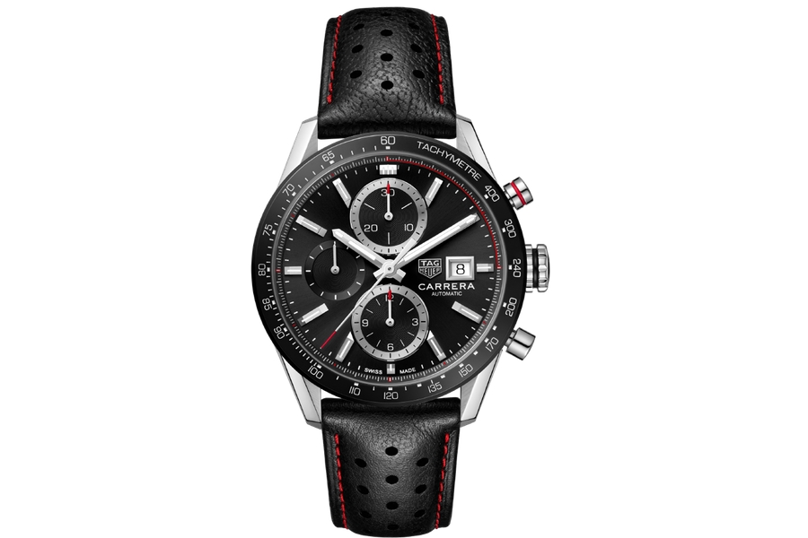 TAG Heuer Carrera Calibre 16 black dial leather strap