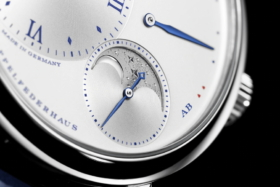 """Closeup of the dial ofA. Lange & Sohne Little Lange 1 Moon Phase """"25th Anniversary"""""""
