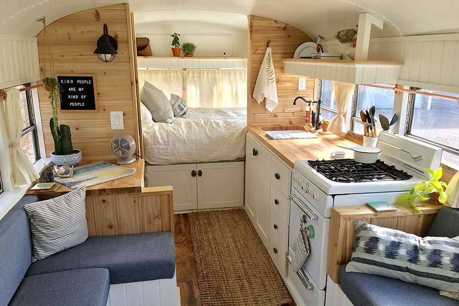 Tiny Home for Microliving kitchen sink with bedroom view