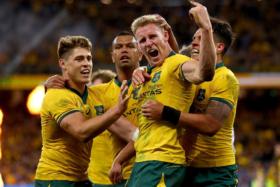 Australian players celebrating