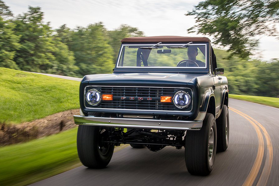 "Ford ""Fuelie"" Bronco on the road"