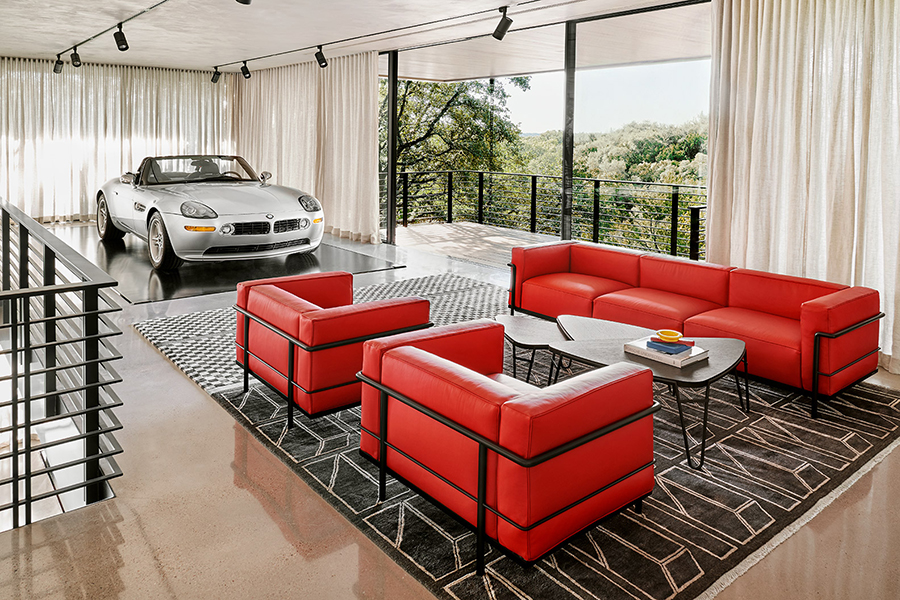 dream garage red sofa with open balcony