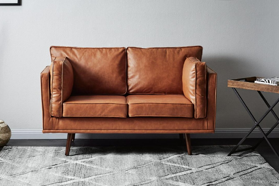 249 Chic Leather Scandinavian Couch