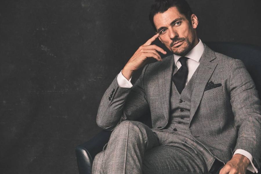 Model in a gray suit