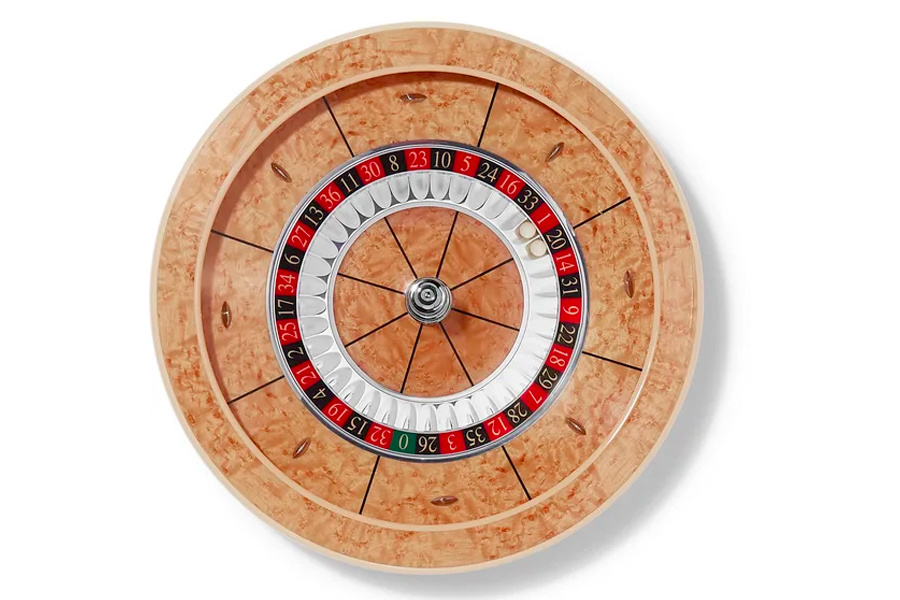 William and son maple veneer roulette wheel