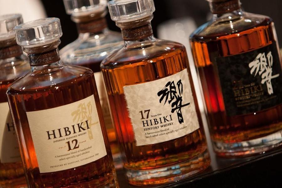 Decanters of Hibiki whisky