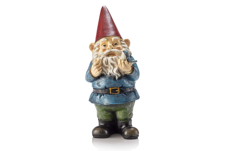 Alpine Corporation Garden Gnome Holding Bird