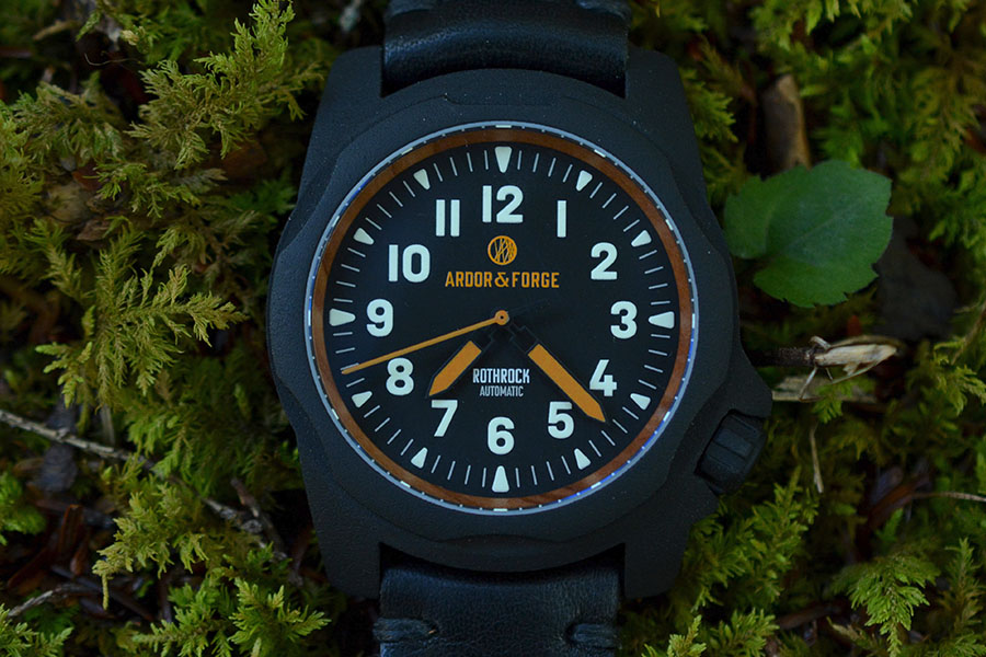 Dial of a blackArdor & Forge Rothrock watch