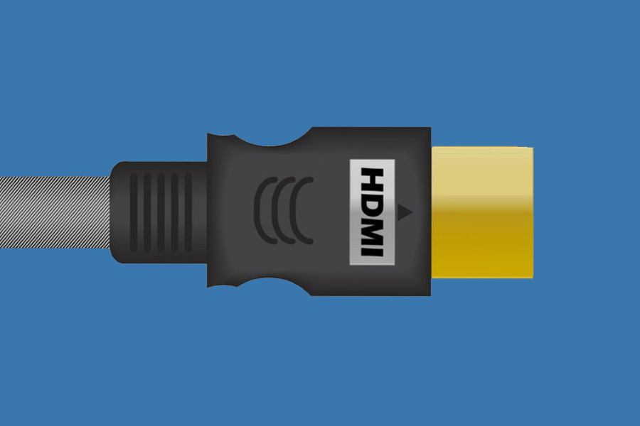 Closeup of an HDMI cable head