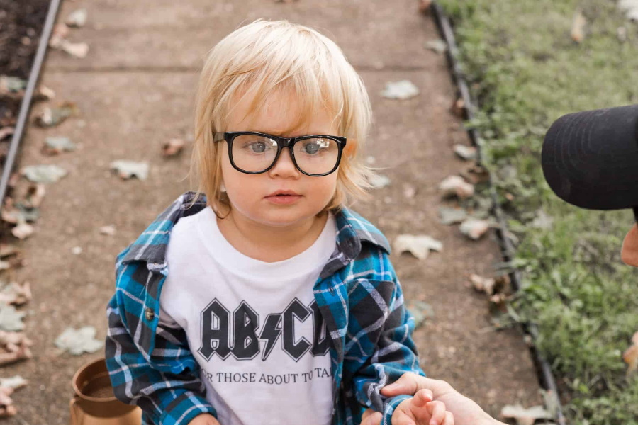 A baby with glasses