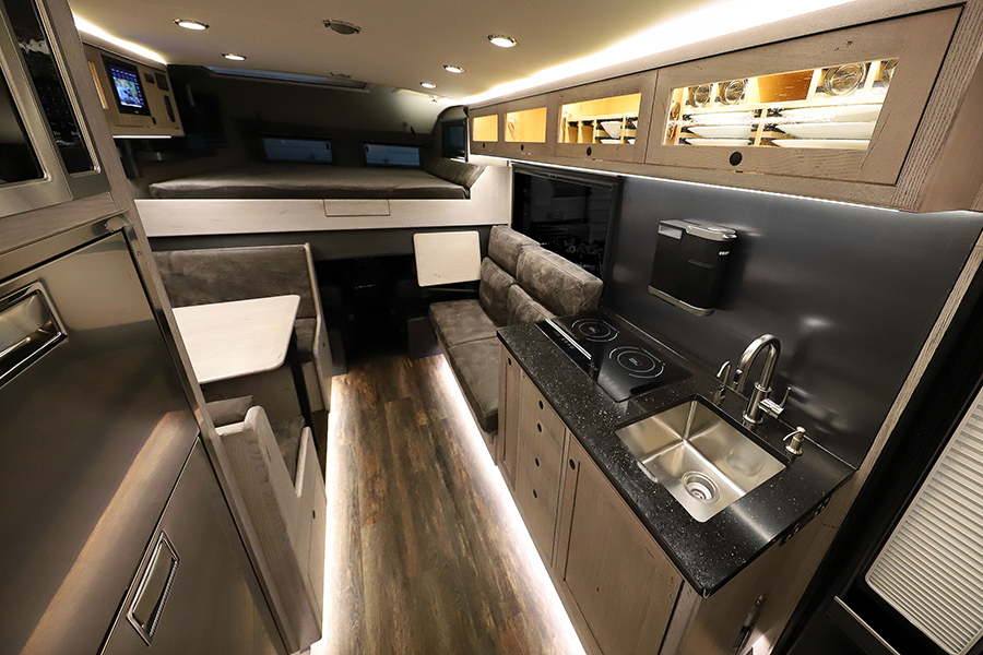Earthroamer LTI RV kitchen view and overlooking the bed