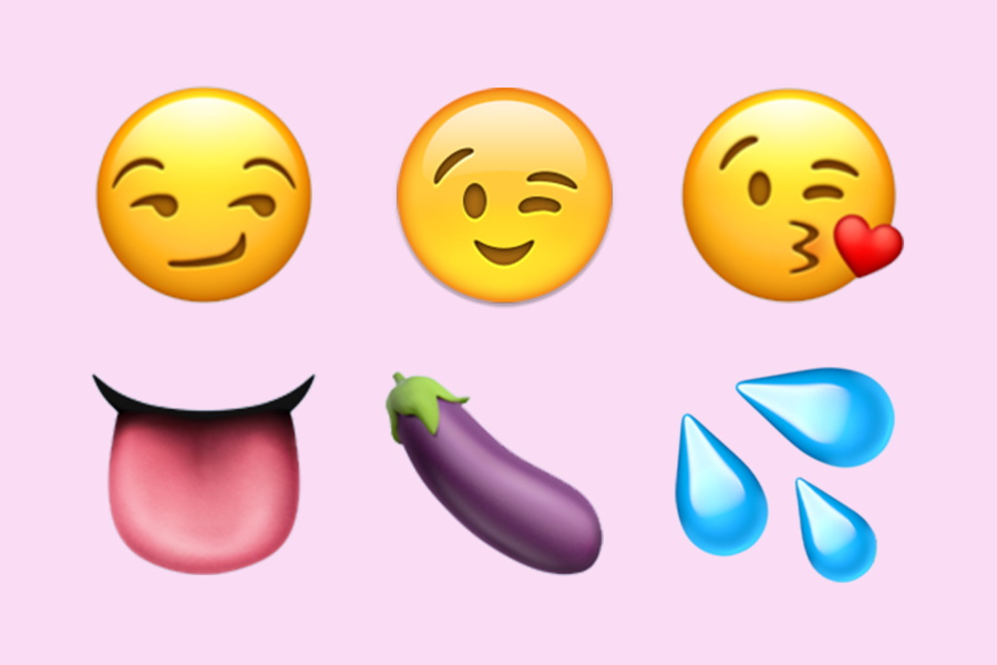 Sexting emojis including tongue, eggplant and waterdrops