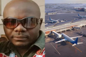 Nigerian scammer and airplanes at an airport
