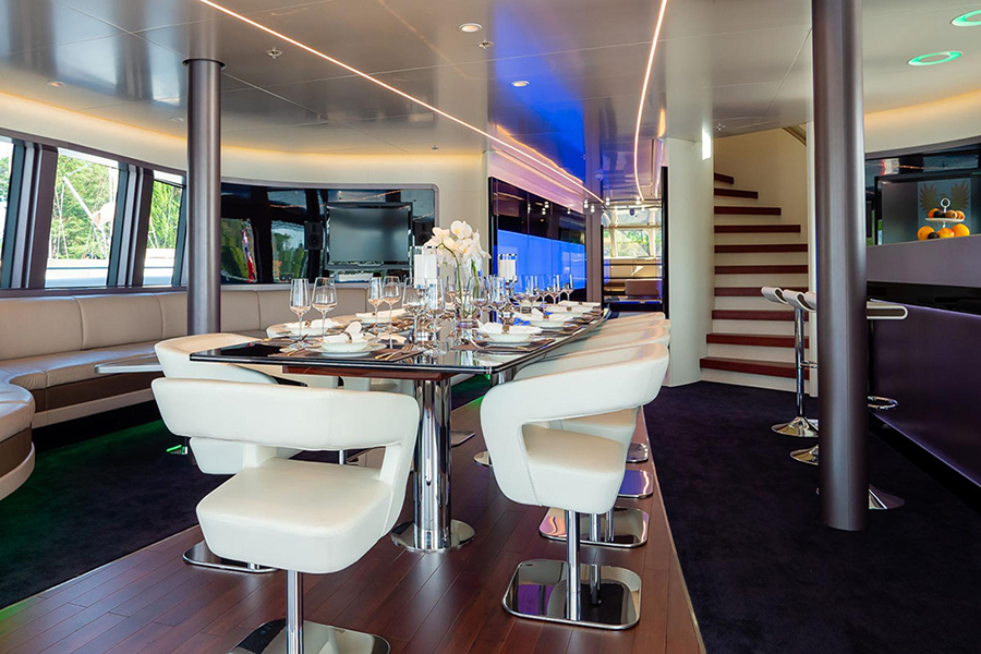 royal falcon luxury yacht dining
