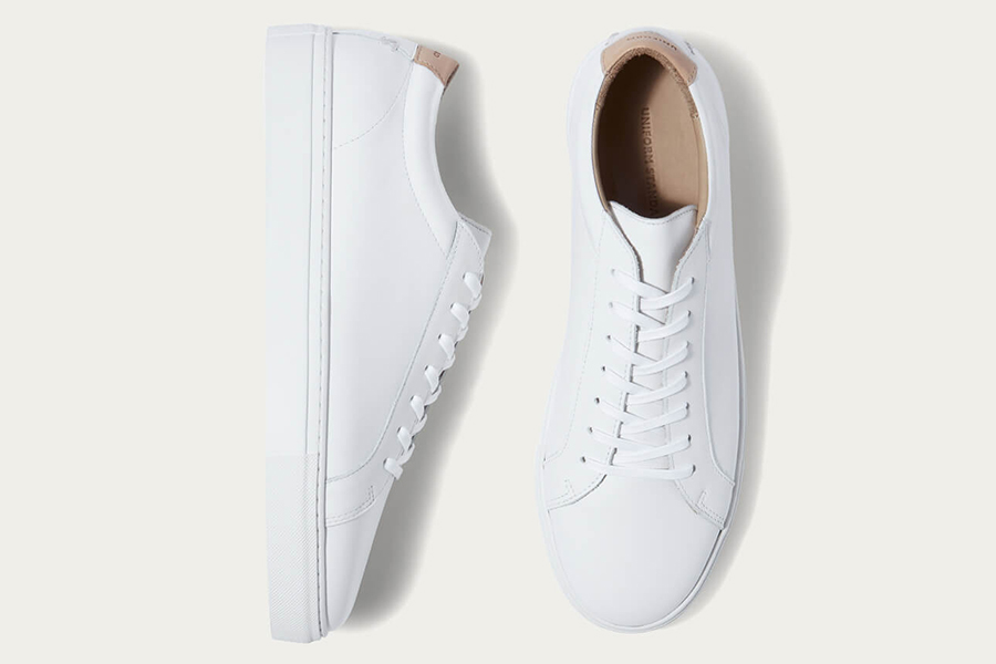 White Leather shoes top view