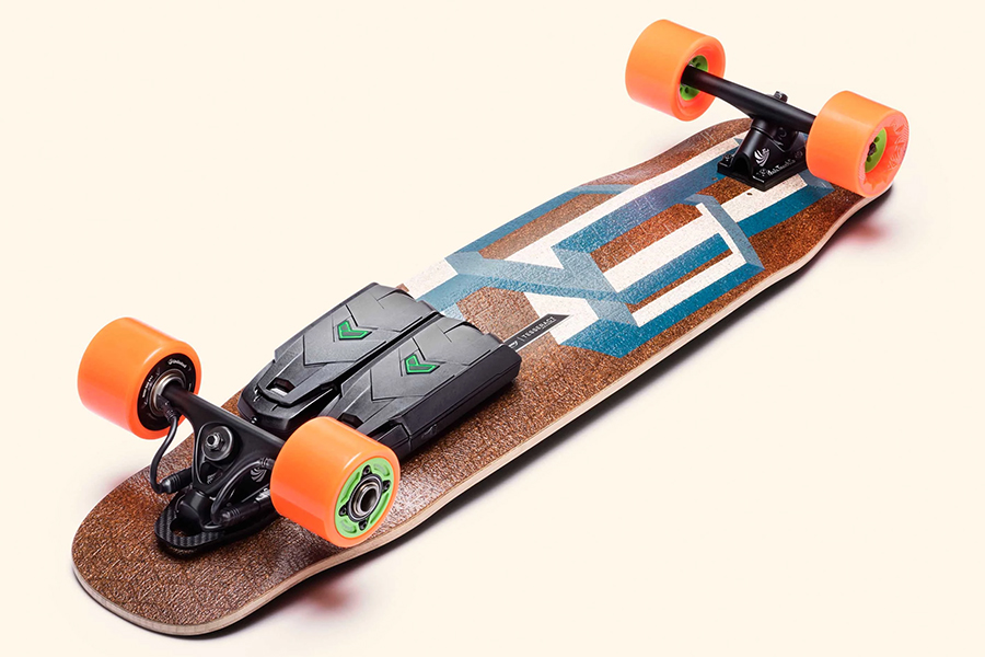 Unlimited x Loaded bottom view of the electric skateboard