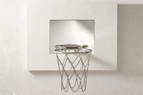White Leather Mini Basketball Hoop