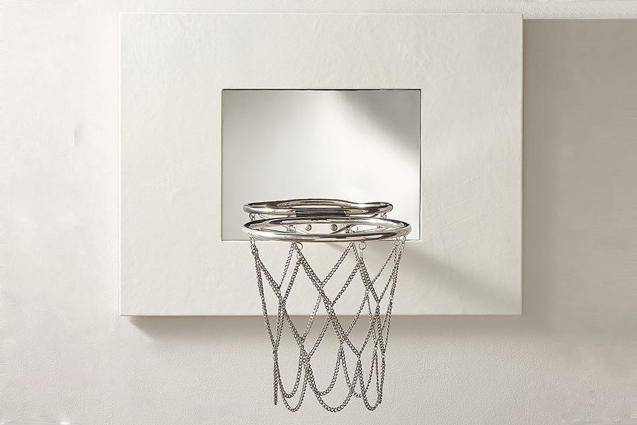 Home Décor Scores with White Leather Mini Basketball Hoop