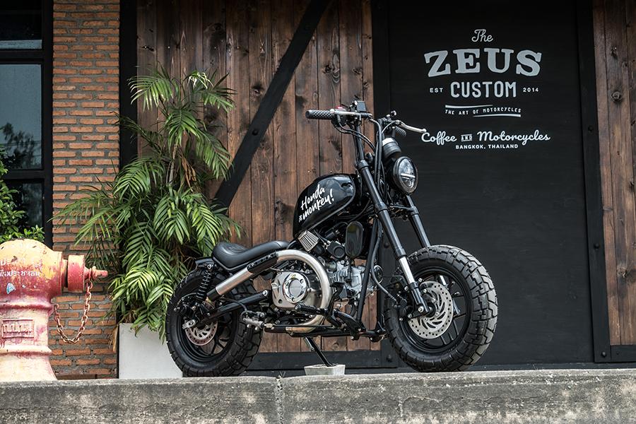 zeus customize honda motorcycle park beside the building