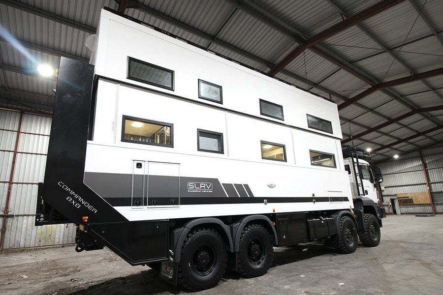 2 story, 8-Wheel-Drive Overlanding Camper RV back view