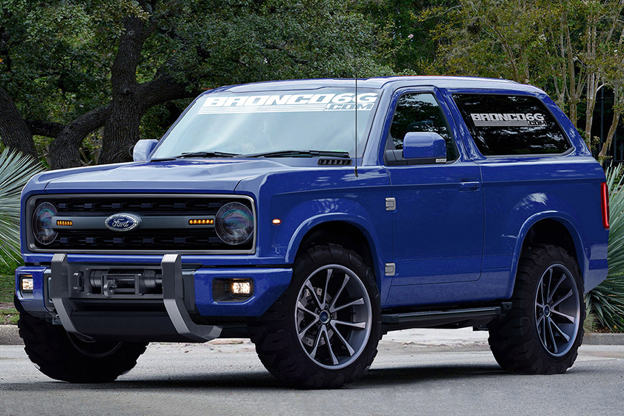 blue Ford Bronco concept vehicle