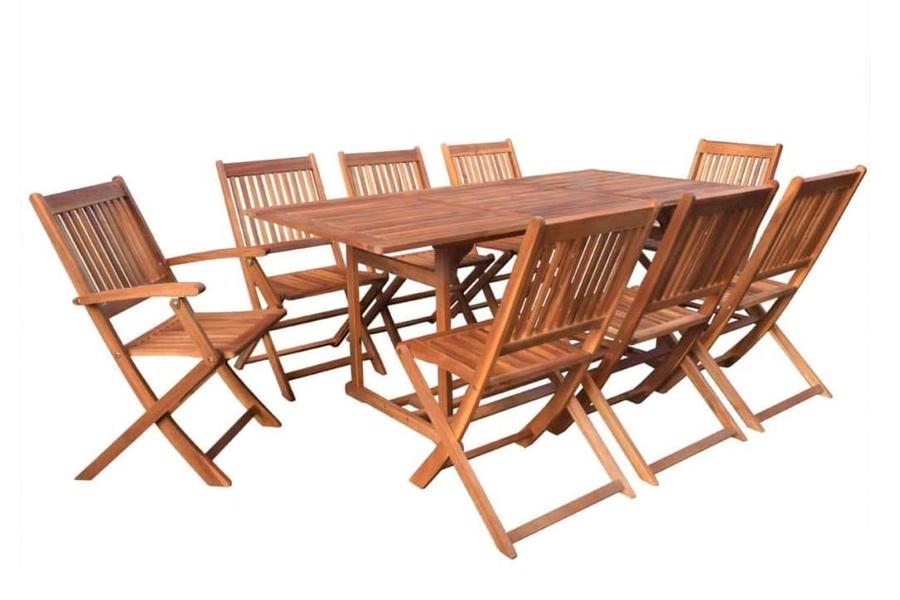 vidaXL 9 Pieces Solid Acacia Wood Outdoor Dining Set