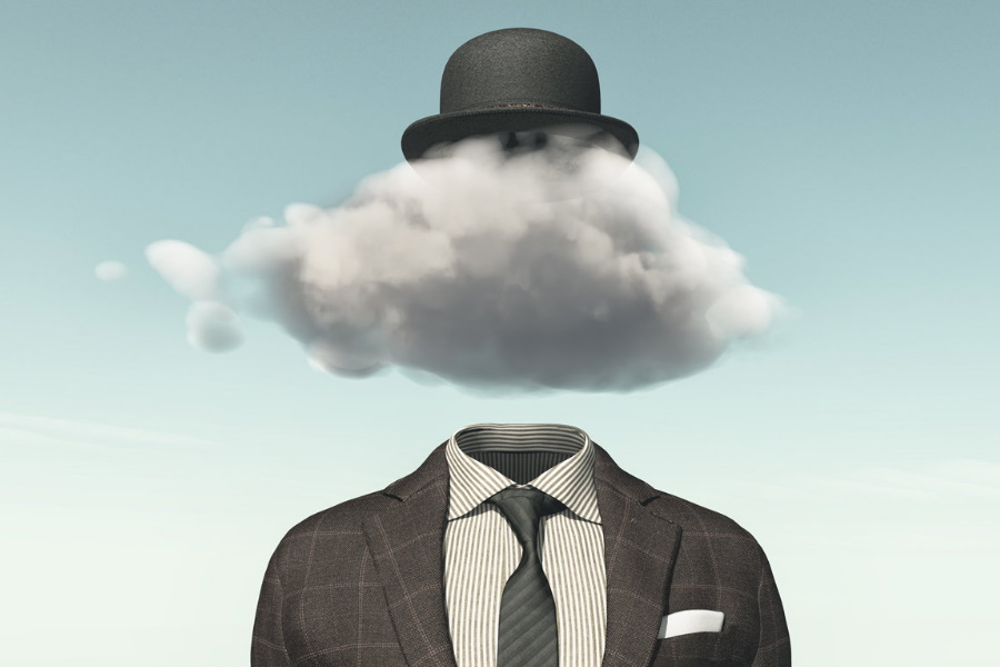 A suit with a cloud in place of a person's head and a hat above cloud