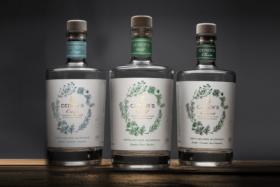 Three decanters ofCedars Non-Alcoholic Gin