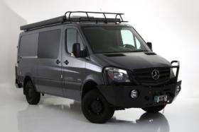 A black custom van