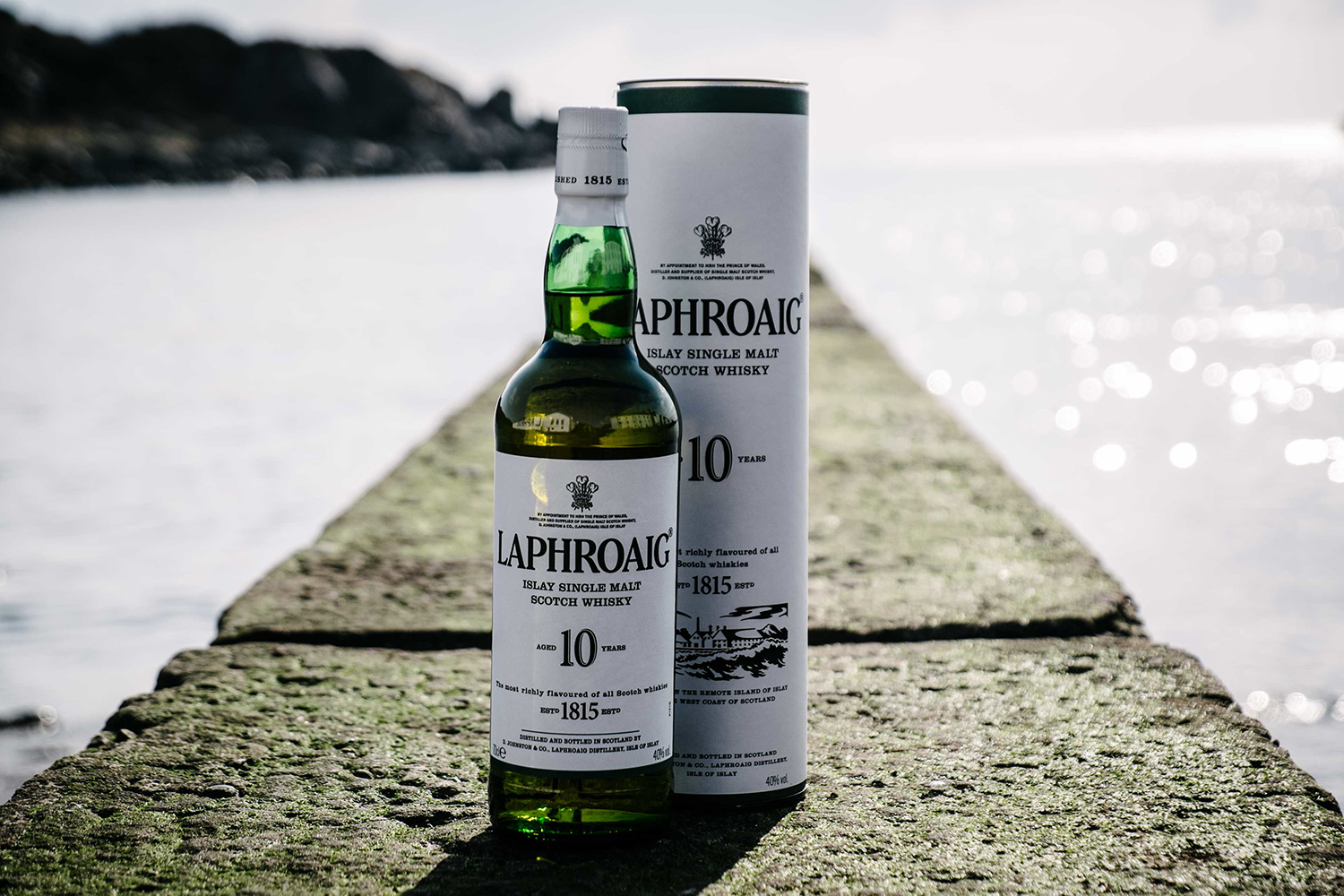 Laphroaig Scotch Whisky bottle and box
