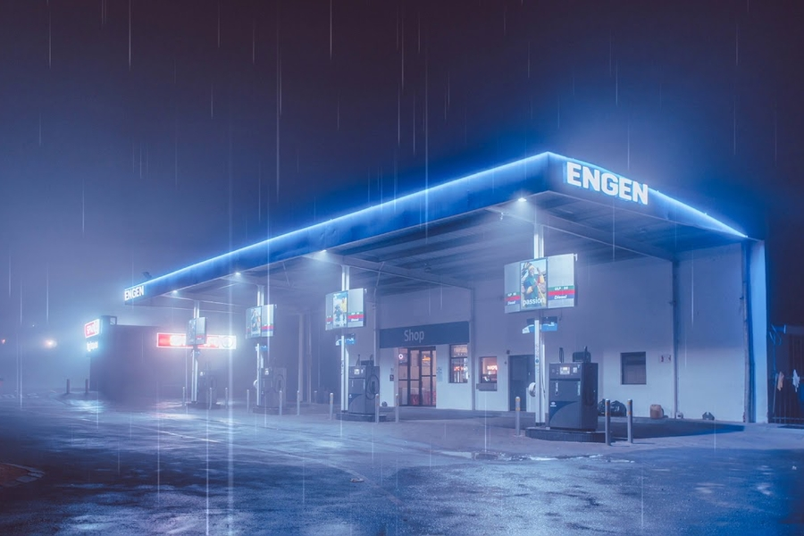 Gas Station in the Rain Wallpaper