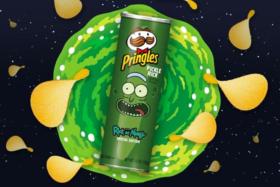 A box ofPickle Rick Pringles