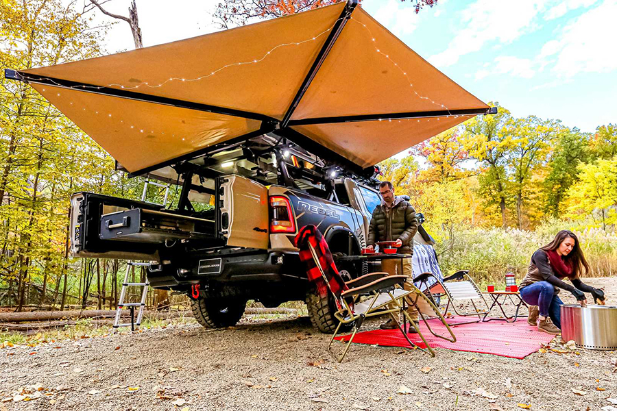 setting up tent with Ram 1500 Rebel OTG Concept