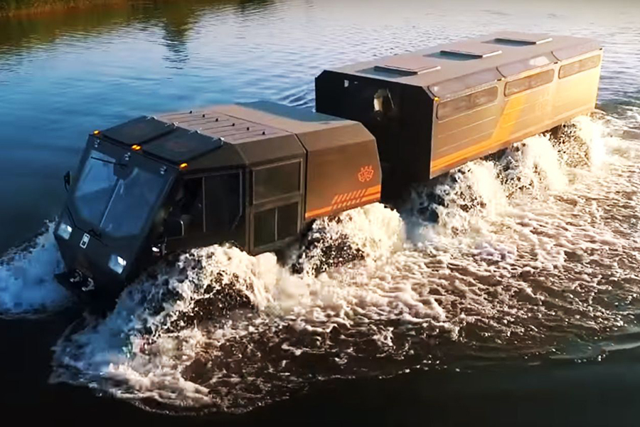 Sherp The Ark 22-Person ATV passing in the water