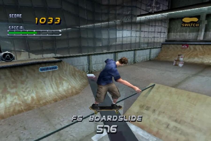 A screen fromTony Hawk Pro Skater 2