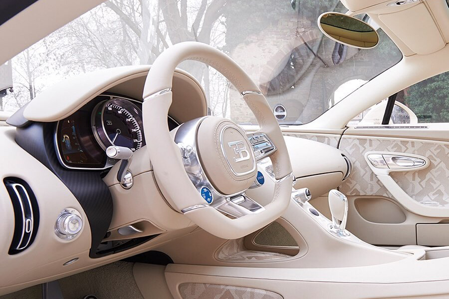 Bugatti X Hermes Chiron Coupe steering wheel and dashboard