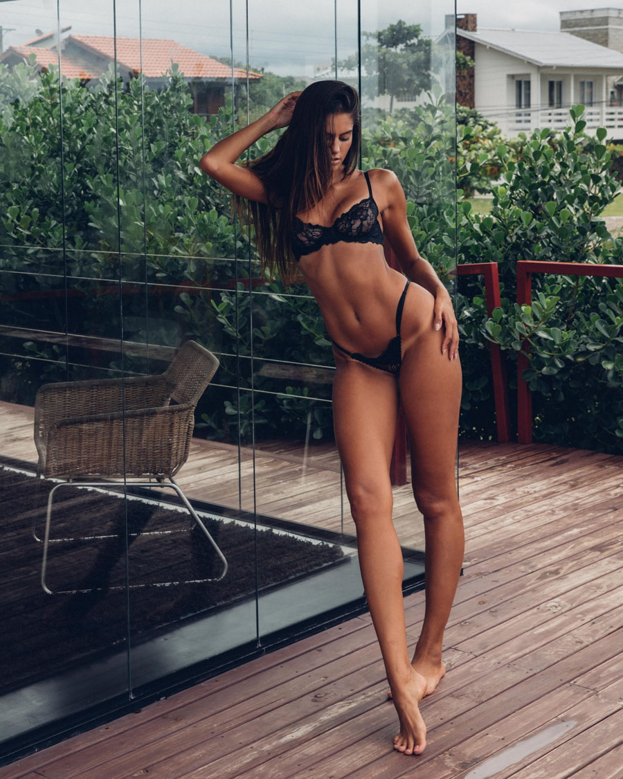Milena Scheller in black lingerie