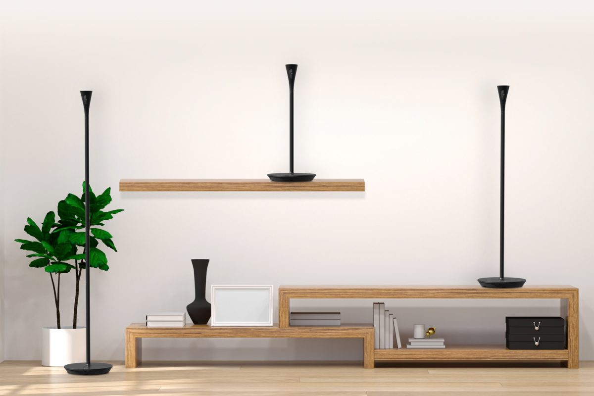 Panasonic HomeHawk Floor Lamps on shelf, table and floor along a wall