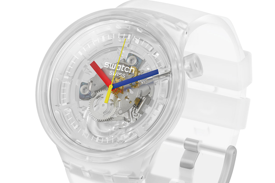 closer look of swatch jellyfish watch