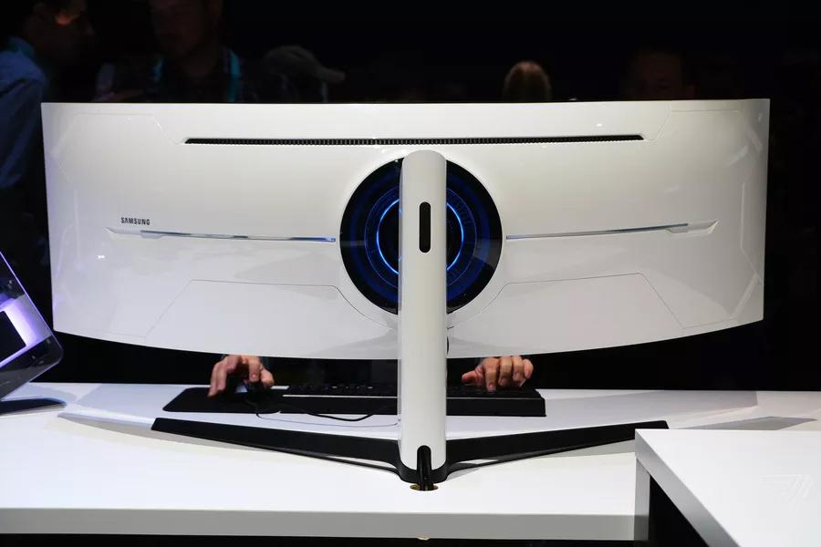 Samsung Odyssey gaming monitor back view
