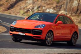 Orange2020 Porsche Cayenne Coupé on road