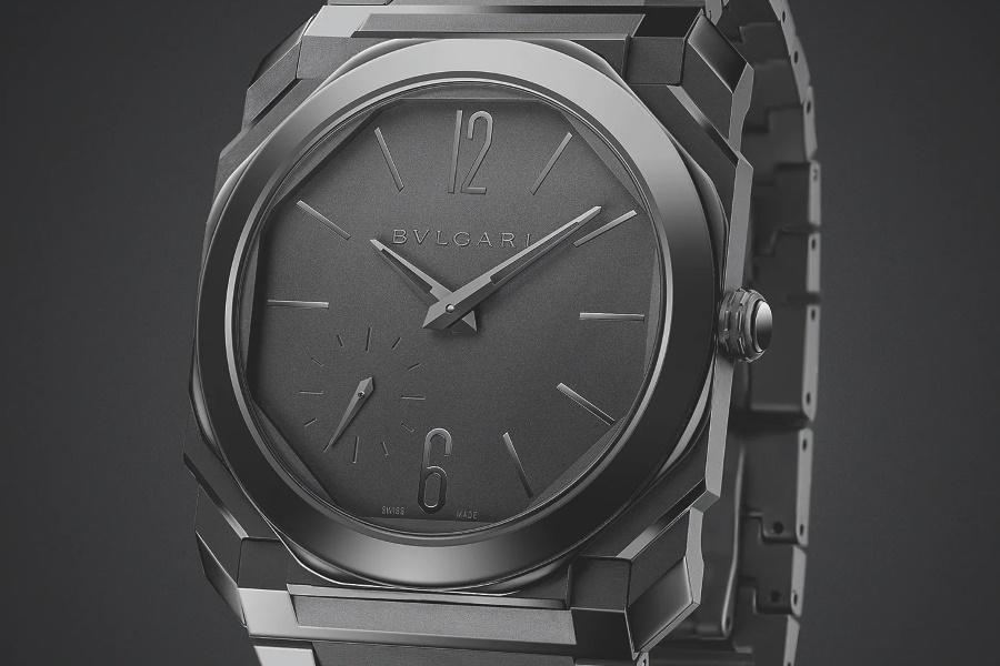 Closeup of BulgariOcto Finissimo Automatic Black Sandblast-Polished Ceramic watch