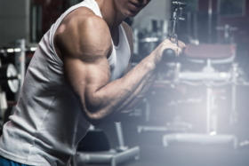 A man doing triceps workout