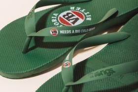Closeup of a pair of greenVB Thongs