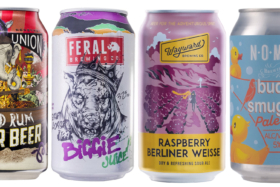 Cans of Aussie craft beers including Feral and Wayward brewing co, cans
